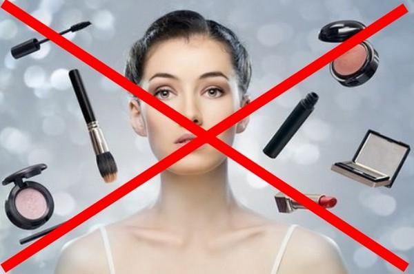 Нельзя пользоваться косметикой после процедуры