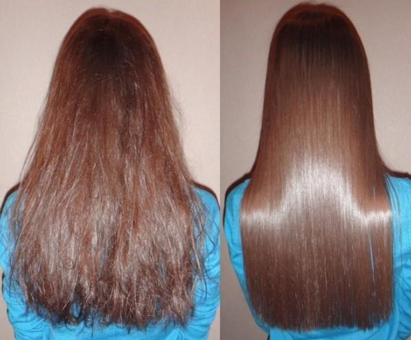 Фото до и после кератинового выпрямления волос №1