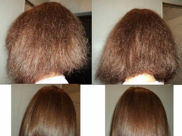 Фото до и после кератинового выпрямления волос №2