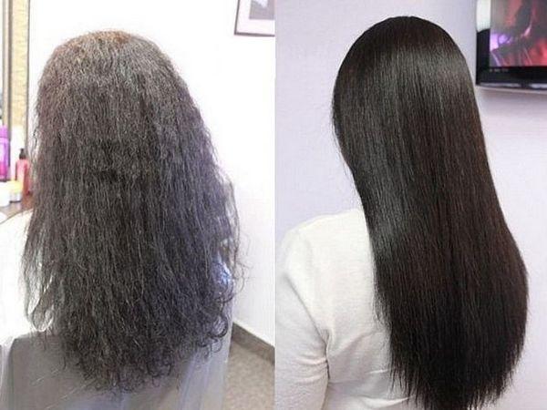 Фото до и после кератинового выпрямления волос №3